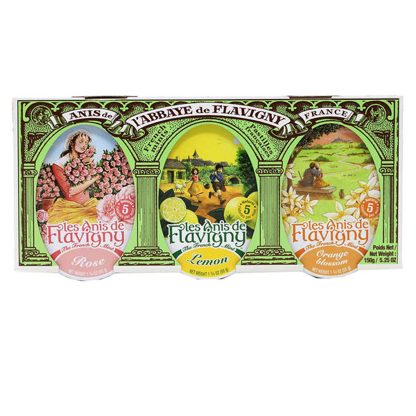 Les Anis de Flavigny - Set of 3 Anise Candies (Lemon, Orange Blossom, Rose), 150g