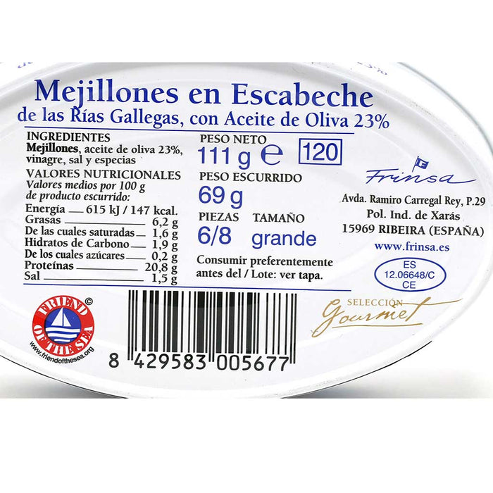 Mussels in Escabeche Sauce by Frinsa, 3.9oz (11g) Can
