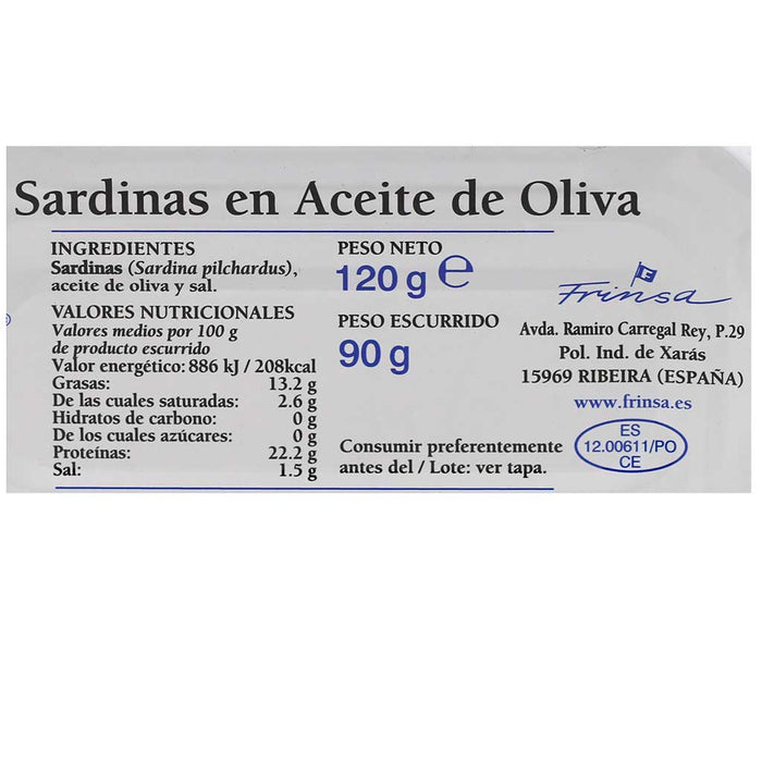 All Natural Small Sardines in Olive Oil, by Frinsa, 4.2oz (120g) Can