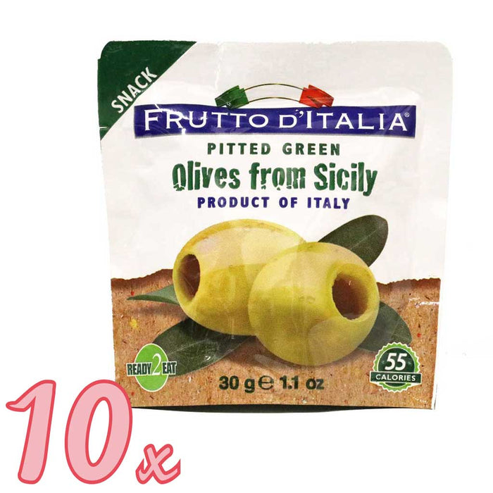 Frutto d'Italia - Green Pitted Olives Snack Pack, (10-Pack)