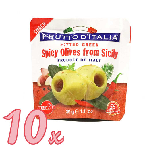 Frutto d'Italia - Spicy Green Pitted Olives Snack Pack, (10-Pack)