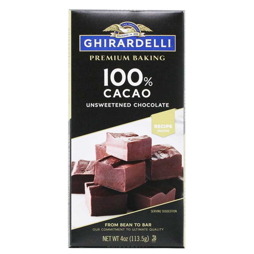Ghirardelli - Unsweetened Chocolate Baking Bar (100% Cacao), 4oz