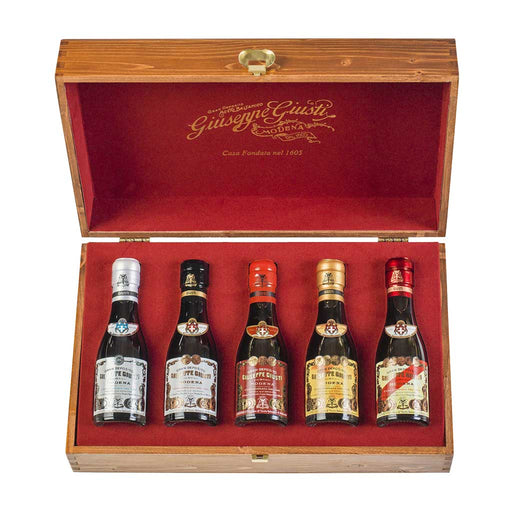 Giuseppe Giusti Aged Balsamic Vinegar - Cofanetto, 5 x 100ml Wooden Gift Set