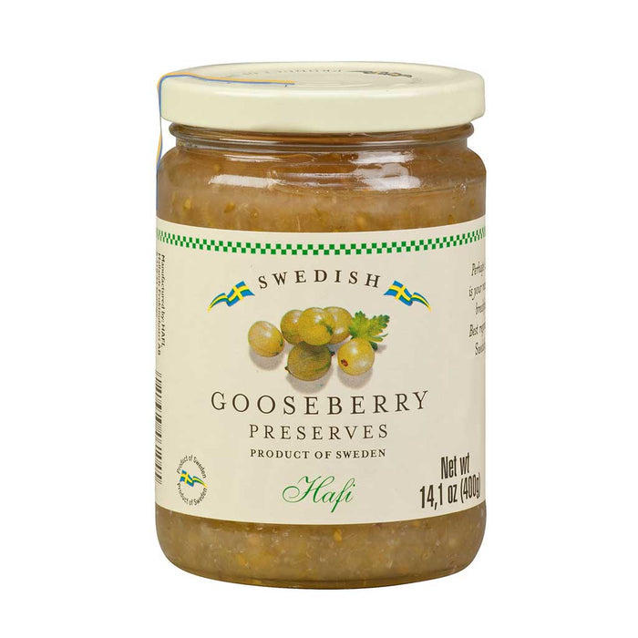 Hafi Swedish Gooseberry Preserves, 14.1oz Jar