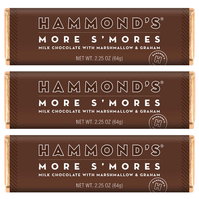 Hammond's More S'mores Milk Chocolate Candy, 2.25oz (64g) Bar