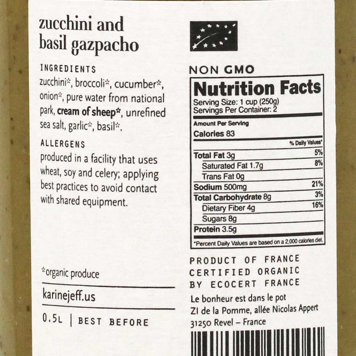 Karine & Jeff - Gazpacho Soup with Zucchini and Basil, 50cl (16.9 fl oz)