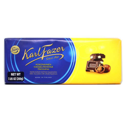 Karl Fazer - Whole Hazelnuts in Milk Chocolate Bar, 200g