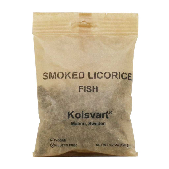 Kolsvart - Swedish Cold Smoked Salty Licorice Fish Candy, 4.2oz