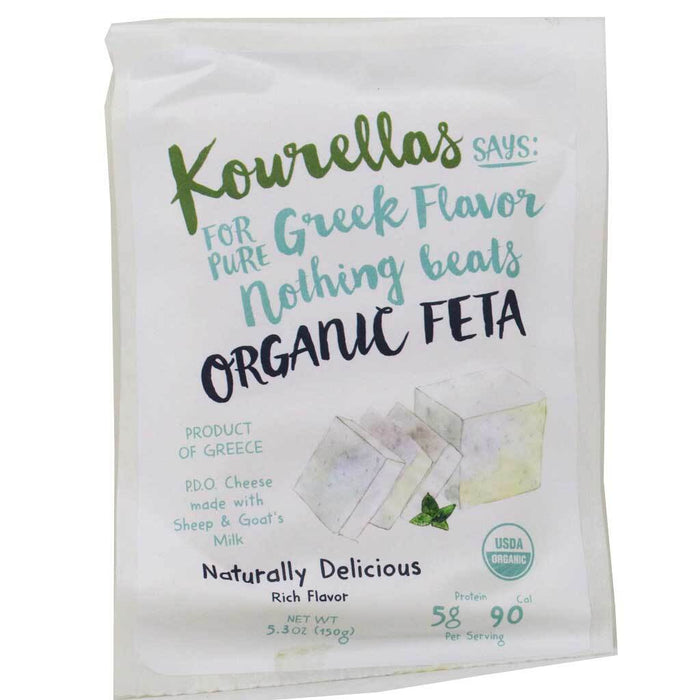 Kourellas - Organic Sheep & Goat Milk Greek Feta Cheese, PDO, 5.3oz (150g)