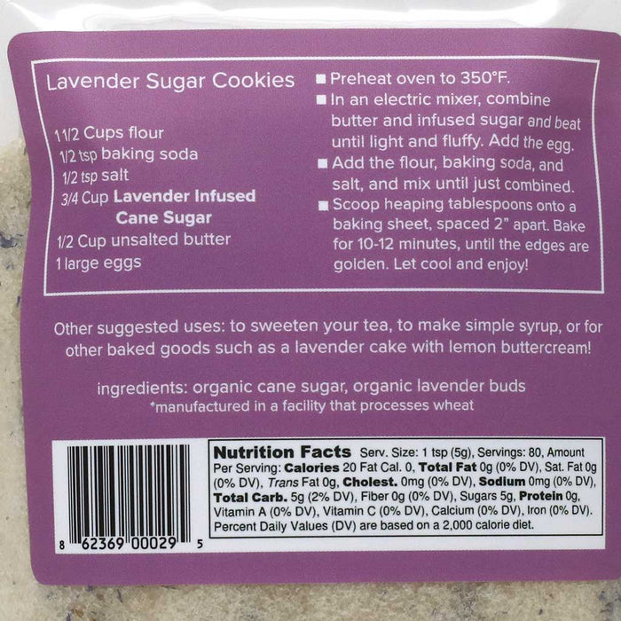 Organic Lavender Infused Cane Sugar by Krista's Baking Co, 14oz