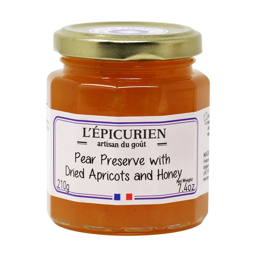 L'Epicurien - Pear & Dried Apricot Jam with Honey, 7.4oz (210g) Jar