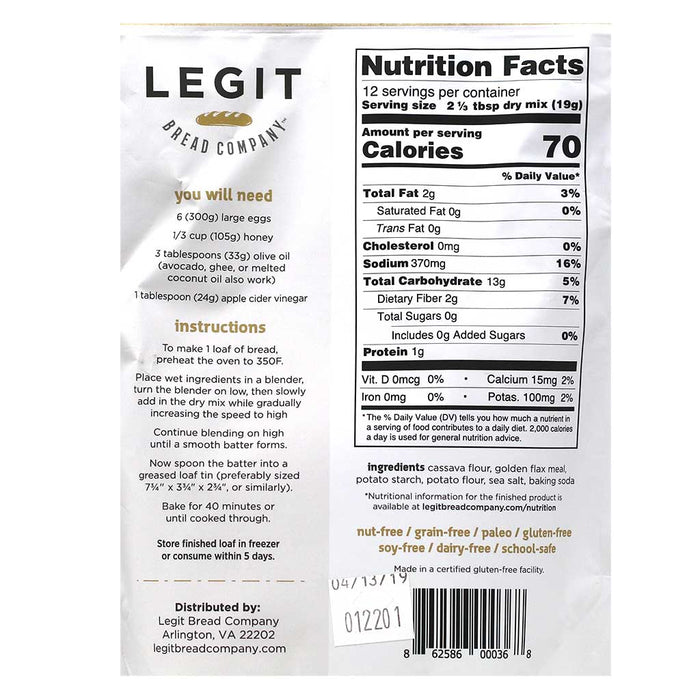 Legit - Paelo Blonde Sandwich Bread Mix, 7.3oz