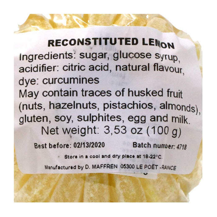 Maffren - French Lemon Slices Hard Candies, 100g (3.53oz) Bag