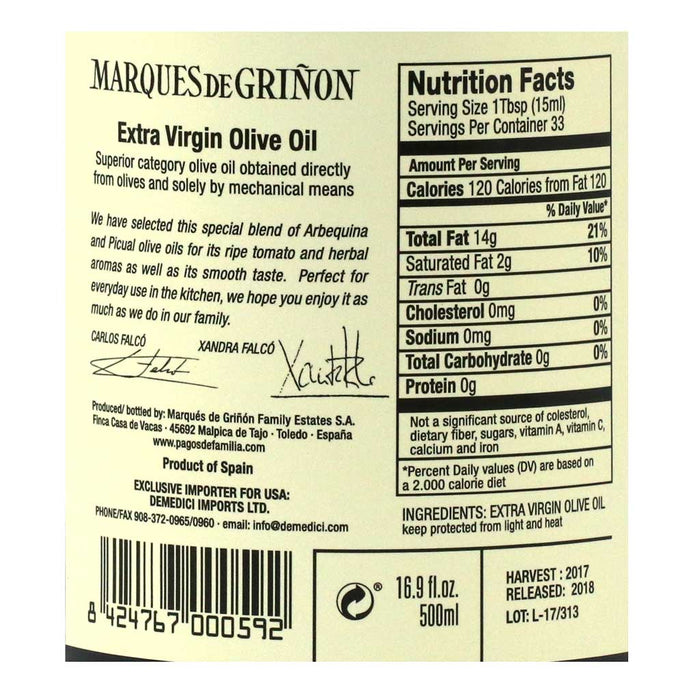 Marques de Grinon - Duo Blend of Arbequina & Picual Extra Virgin Olive Oil, 500ml