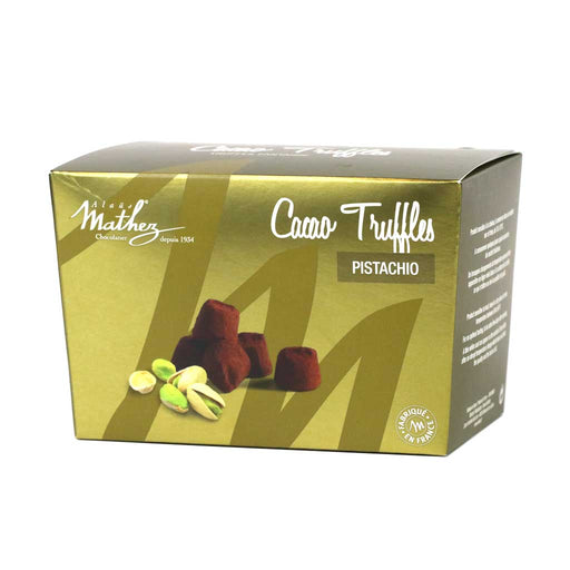 Mathez - French Chocolate Truffles with Pistachio, 8.8oz Box