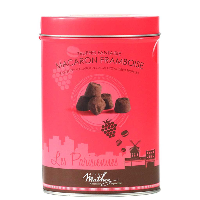 Mathez 'Les Parisiennes' - French Chocolate Truffles with Raspberry Macaron, 7.1oz Tin