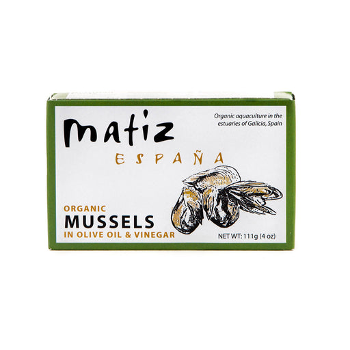 Matiz - Organic Mussels in Olive Oil & Vinegar, 4oz (111g)