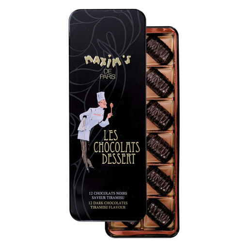 Maxim's Paris - Dark Chocolate Tiramisu Flavor, 12 pc Gift Tin