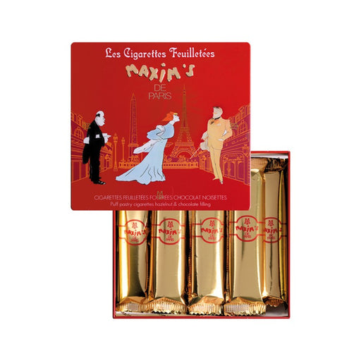 Maxim's Paris - Chocolate & Hazelnut Cigarette Cookies, 16pc Gift Tin (90g)