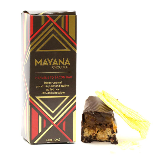 Mayana Chocolate - 66% Dark Chocolate Bar, Heavens to Bacon, 3.53oz