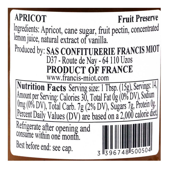 Miot - Apricot French Fruit Preserve, 220g