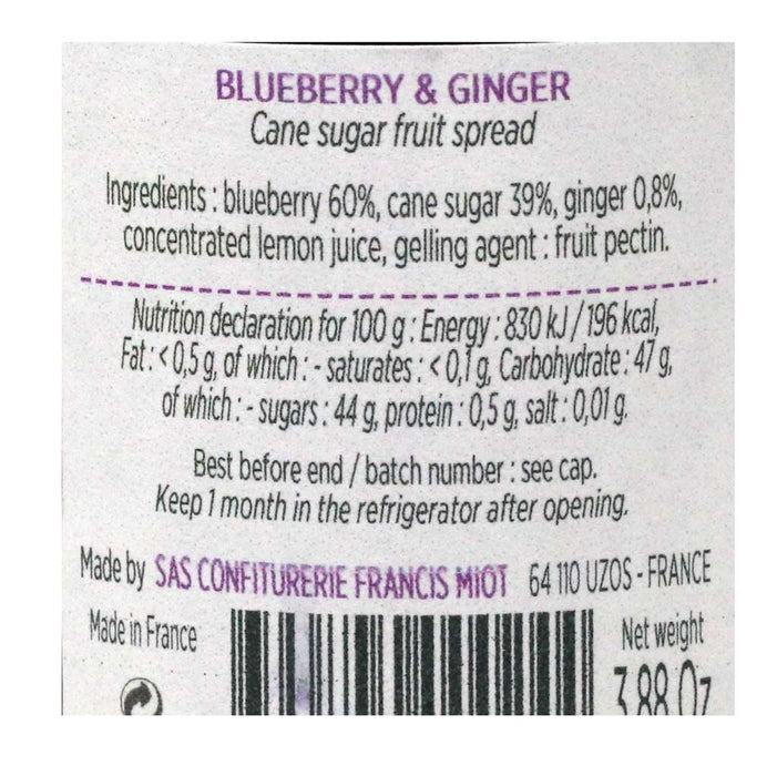 Miot - Blueberry French Artisan Jam with Ginger, 100g