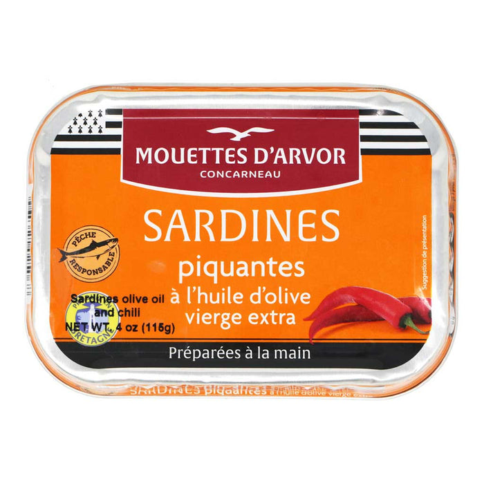 Mouettes d'Arvor - All-Natural Sardines in EVOO with Chili Pepper, 4oz (115g)