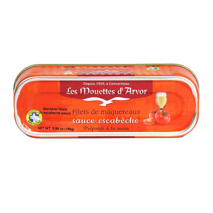 Mouettes Arvor - Mackerel Fillets in Escabeche Sauce, 169g (6 oz)