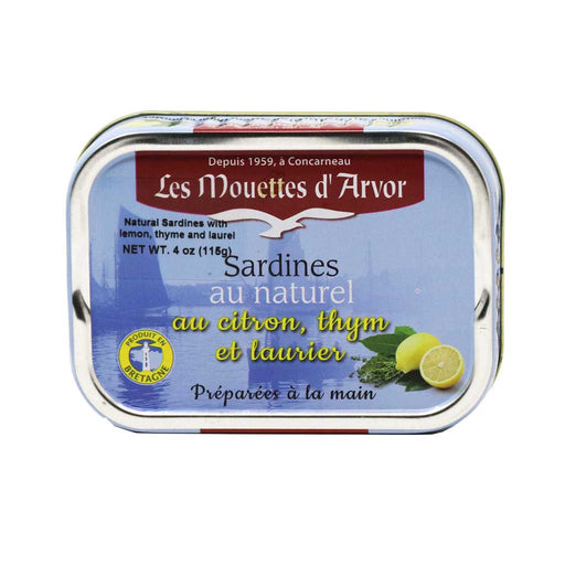 Mouettes d'Arvor - All-Natural Sardines with Lemon, Thyme & Laurel, 4oz (115g)