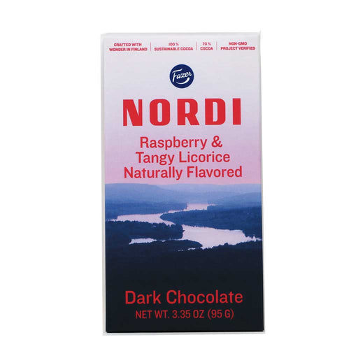 Fazer Nordi - Raspberry & Tangy Licorice Dark Chocolate Bar, 95g