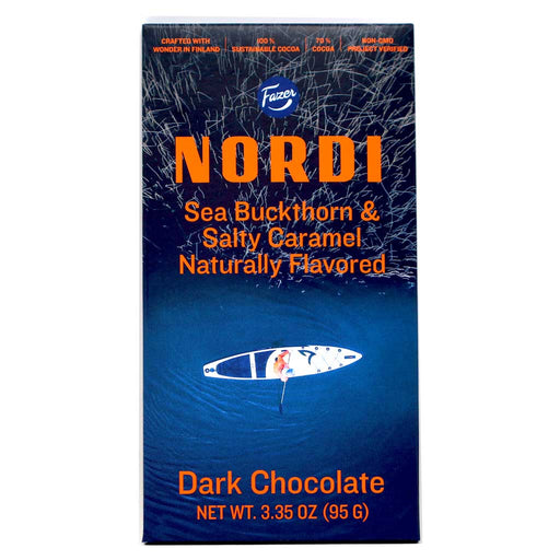 Fazer Nordi - Sea Buckthorn & Salty Caramel Dark Chocolate Bar, 95g
