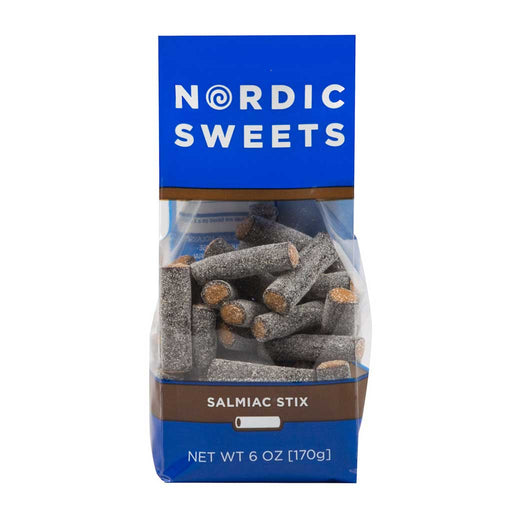 Nordic Salty Licorice Salmiac Stix, 6oz Bag