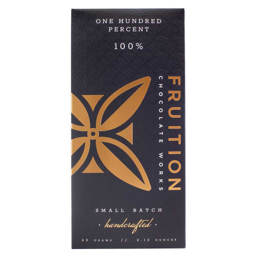 Fruition Chocolate Works - One Hundred Percent Chocolate Bar, 2.12oz (60g)