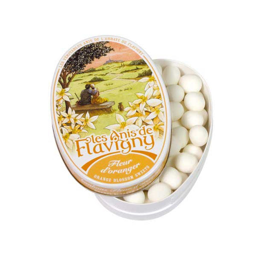 Les Anis de Flavigny - Orange Blossom Flavored Anise Candy, 50g Tin