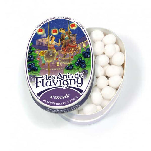 Les Anis de Flavigny - Blackcurrant Flavored Anise Candy, 50g Tin
