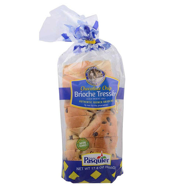 Pasquier Authentic French Brioche Tressee Bread Sliced Loaf with Chocolate Chips, 17.6oz (500g)