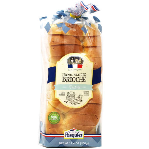 Pasquier Hand-Braided French Brioche Tressée (Bread Sliced Loaf), 17.6oz (500g)