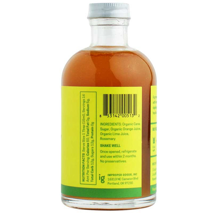 RAFT Botanicals - Citrus Rosemary Simple Syrup, 8.5oz (250ml)