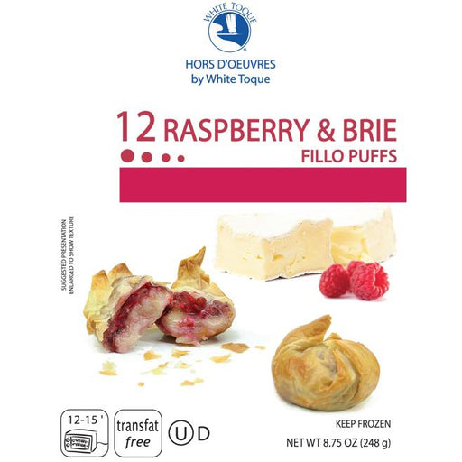 White Toque - Brie & Raspberry Fillo Puffs, 12pc, 8.75oz (248g)
