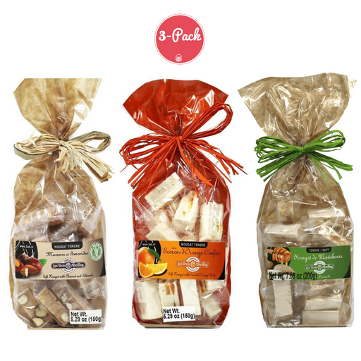 Trois Abeilles French Nougat Sampler Bags - Classic Almond, Orange Peel, Chestnut & Almond