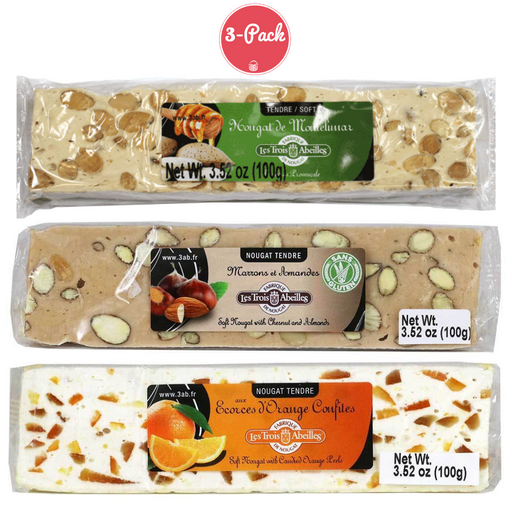 Trois Abeilles French Nougat Sampler Bars - Classic Almond, Orange Peel, Chestnut & Almond