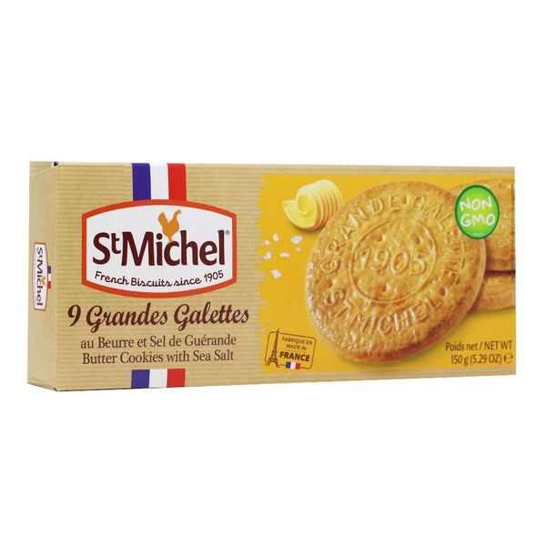 St Michel - Grande Galettes French Butter Biscuits with Sea Salt, 150g (5.3oz)