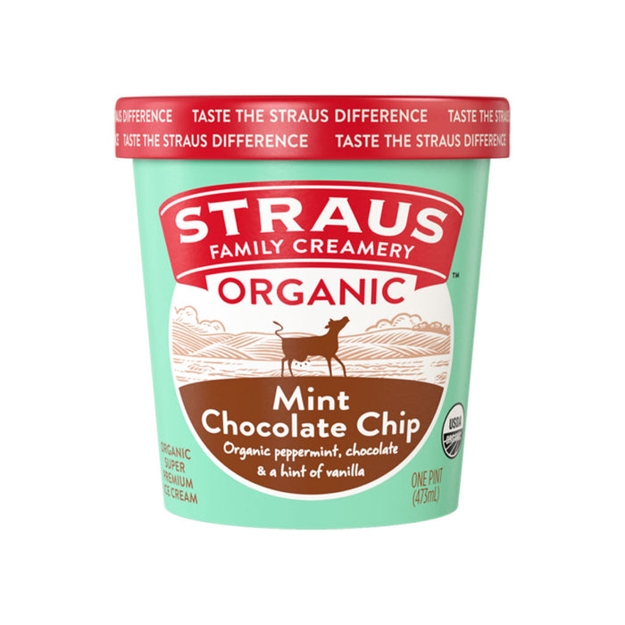 Straus Family Creamery - Organic Super Premium Mint Chocolate Chip Ice Cream, 1 Pint