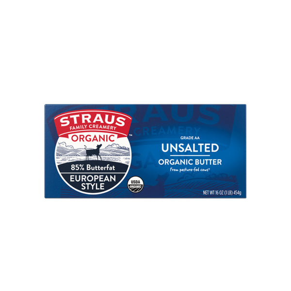 Straus Family Creamery - Organic Unsalted Sweet European Style Butter, 1lb