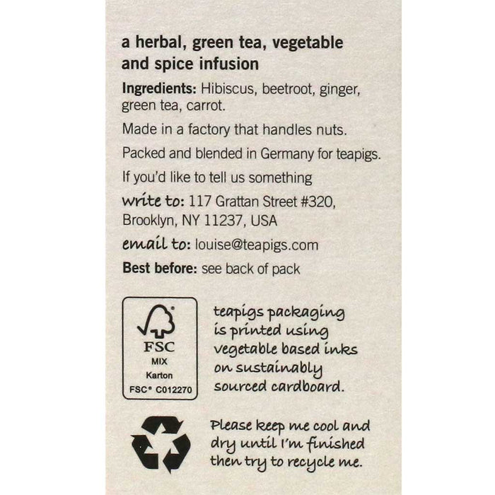 Teapigs - Up Beet Green Tea, 15-Bag