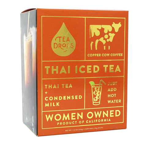 Copper Cow Coffee, Organic Thai Iced Tea with Creamer, 5-Pack