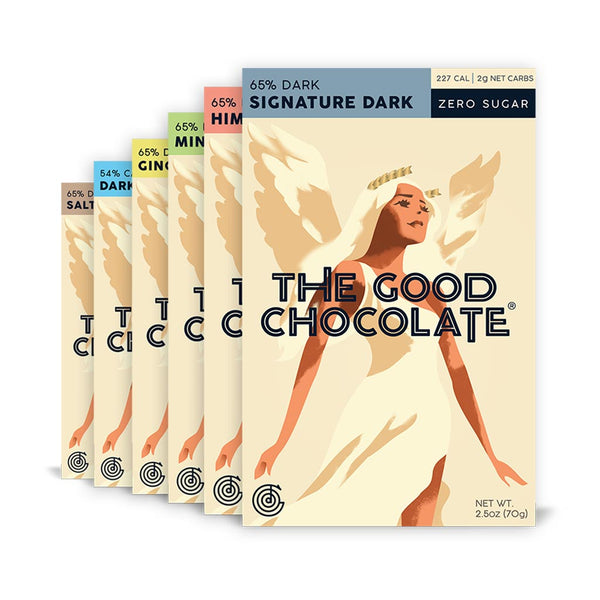 The Good Chocolate - Chocolate Bar Variety Pack, 6 x 2.5oz