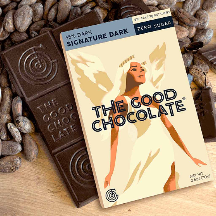 The Good Chocolate - 65% Cacao Dark Chocolate, Himalayan Salt, 2.5oz (4-Pack)