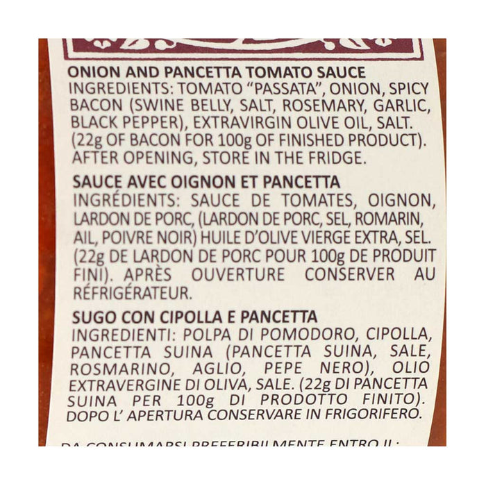 Amerigo - Tomato Sauce with Onion and Pancetta, 200g (7.05oz)