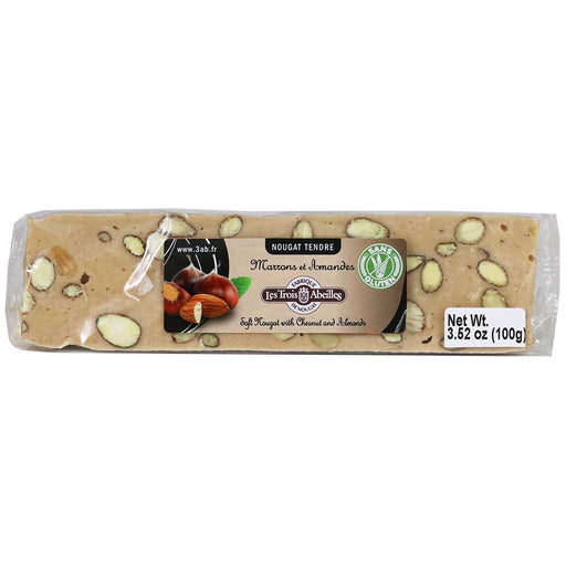Trois Abeilles – Soft Nougat Bar with Chestnuts & Almonds, 100g